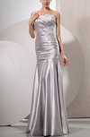 Simple Beach Trumpet Asymmetric Neckline Elastic Woven Satin Floor Length Ruching Bridal Gowns