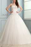 Romantic Church Strapless Sleeveless Lace up Appliques Bridal Gowns