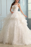Romantic Garden Full Skirt Sleeveless Lace up Chapel Train Appliques Bridal Gowns