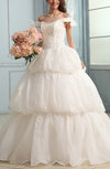 Modest Outdoor Princess Off-the-Shoulder Lace up Appliques Bridal Gowns