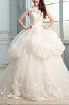 Disney Princess Outdoor Ball Gown Illusion Sleeveless Zipper Sash Bridal Gowns