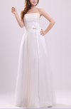 Plain Beach A-line Strapless Backless Floor Length Flower Bridal Gowns