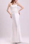 Modest Garden Sheath Zipper Elastic Woven Satin Floor Length Ribbon Bridal Gowns