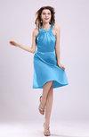 Simple A-line Square Zipper Knee Length Ribbon Graduation Dresses