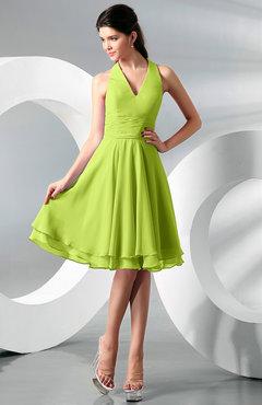7d67074e98e Bright Green Simple A-line Halter Zip up Chiffon Bridesmaid Dresses