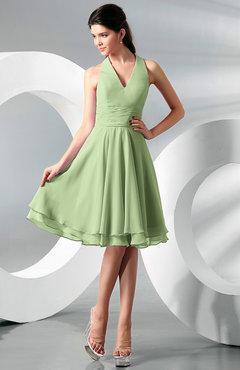 14a60e9cefe Sage Green Simple A-line Halter Zip up Chiffon Bridesmaid Dresses