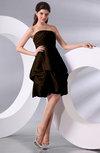 Simple A-line Sleeveless Zip up Knee Length Bow Bridesmaid Dresses