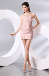 Plain Column Strapless Chiffon Short Ruching Prom Dresses