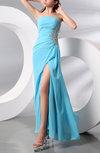Modern Strapless Sleeveless Zip up Floor Length Split-Front Homecoming Dresses