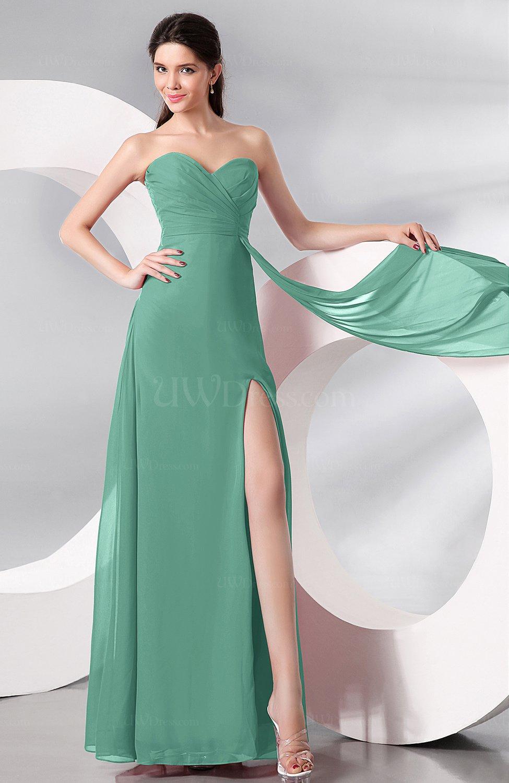 2fdf0de22340 Mint Green Plain Sleeveless Zip up Chiffon Floor Length Prom Dresses ...