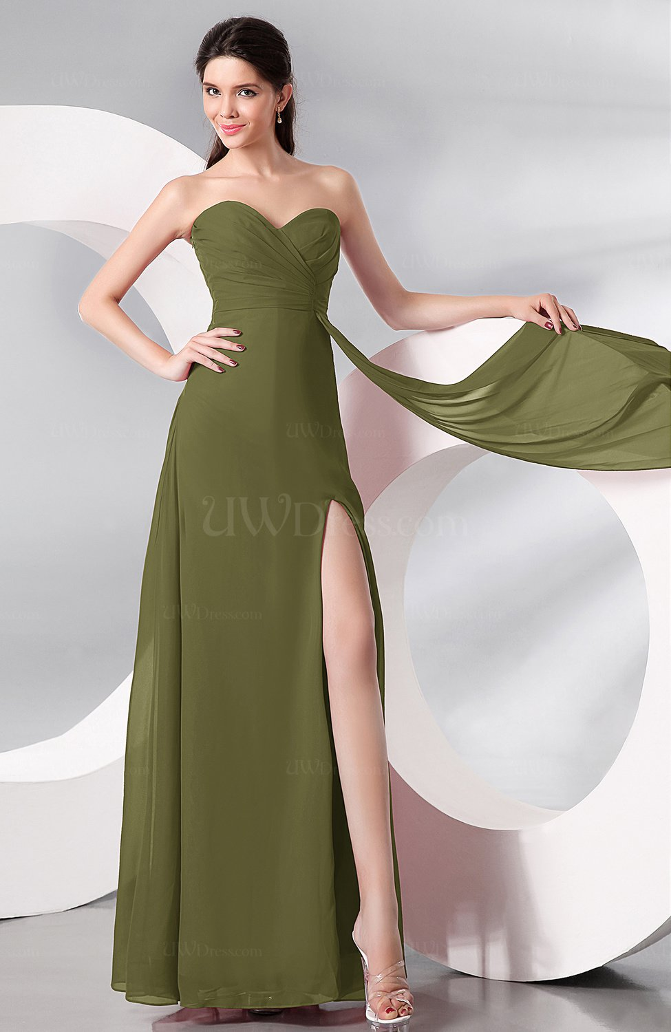 87790eab6f Olive Green Plain Sleeveless Zip up Chiffon Floor Length Prom Dresses  (Style D35634)