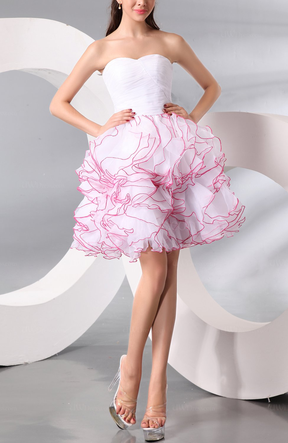 white plain baby doll organza short ruching party dresses