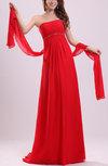 Simple Strapless Sleeveless Backless Chiffon Sweep Train Prom Dresses