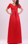 Mature A-line V-neck Short Sleeve Zip up Satin Mother of the Bride Dresses