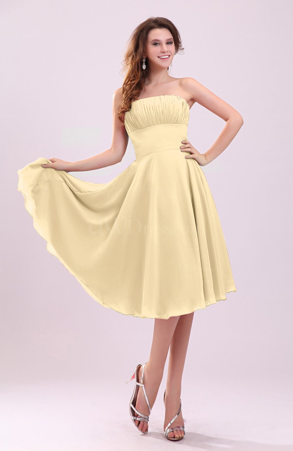 Gold Simple A Line Sleeveless Backless Pleated Wedding Guest Dresses