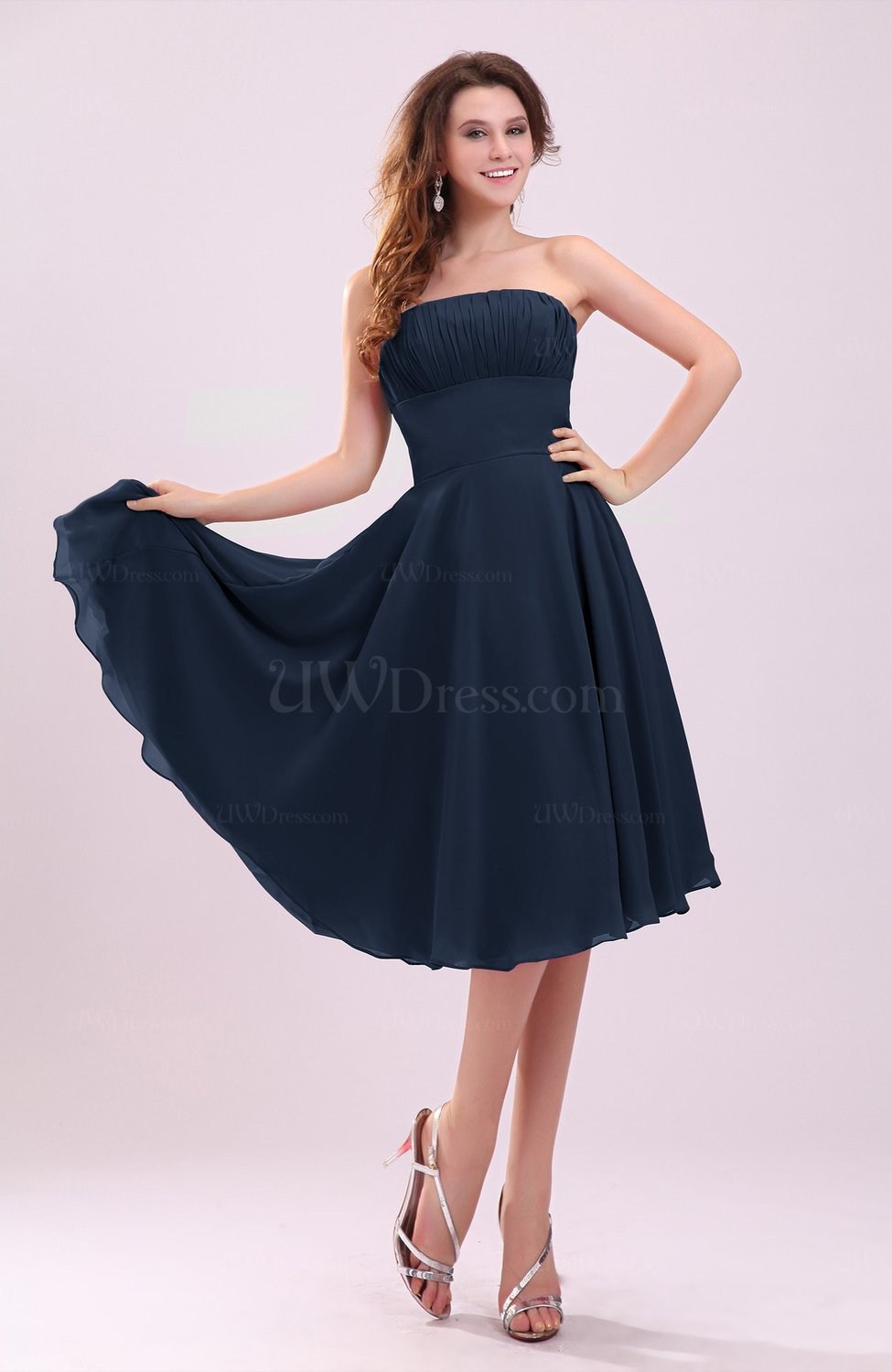 Navy Blue Simple A Line Sleeveless Backless Pleated Wedding Guest Dresses