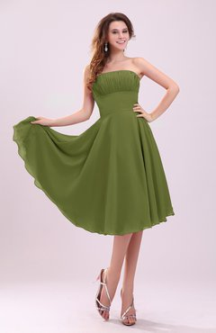 8e57f2fd2be Olive Green Simple A-line Sleeveless Backless Pleated Wedding Guest Dresses