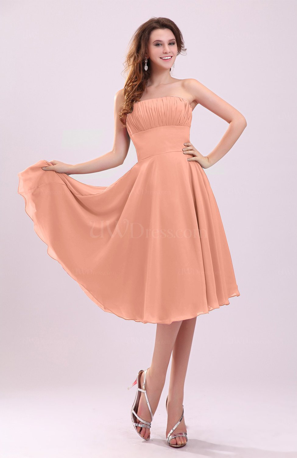 501a0c44737 Salmon Simple A-line Sleeveless Backless Pleated Wedding Guest ...