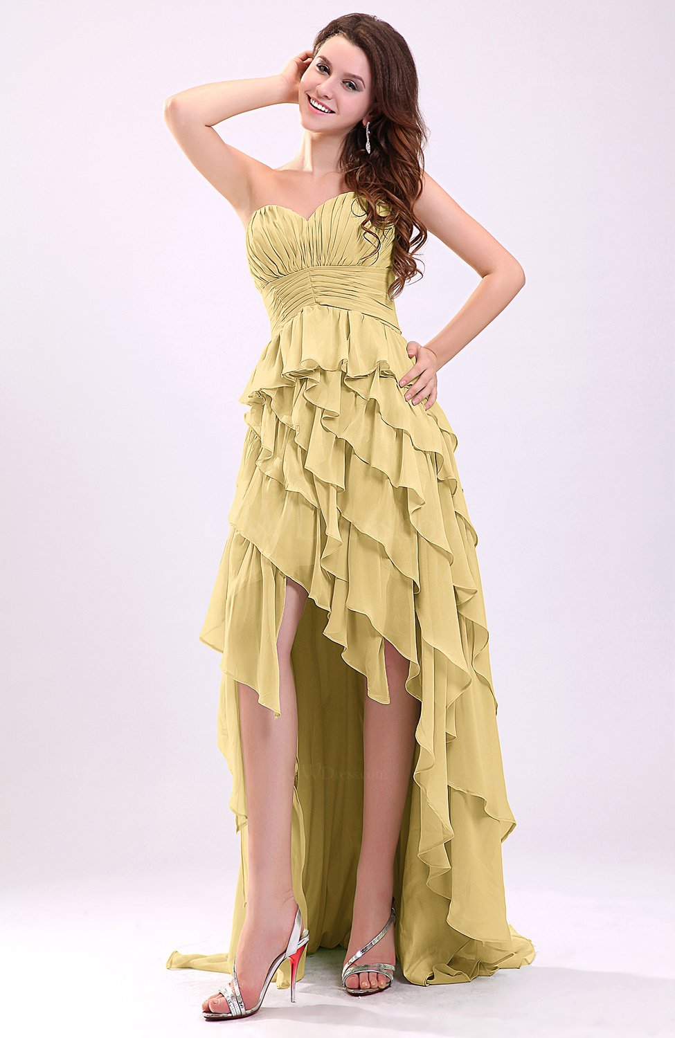 Gold Gorgeous Sweetheart Lace Up Chiffon Knee Length Wedding Guest Dresses