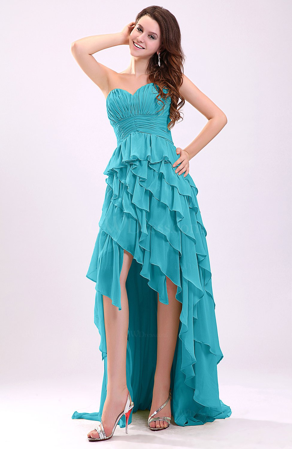Teal Gorgeous Sweetheart Lace up Chiffon Knee Length ...
