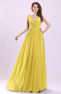 9537312a83 Pale Yellow Modern A-line Sleeveless Zipper Chiffon Ruching Wedding Guest  Dresses