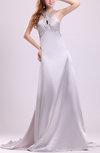 Sexy A-line Sleeveless Elastic Woven Satin Court Train Rhinestone Evening Dresses