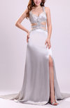 Sexy A-line Sleeveless Criss-cross Straps Chapel Train Beaded Prom Dresses