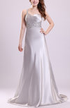 Luxury Outdoor Sleeveless Criss-cross Straps Elastic Woven Satin Court Train Sequin Bridal Gowns
