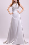 Sexy Outdoor A-line Sleeveless Elastic Woven Satin Court Train Beaded Bridal Gowns