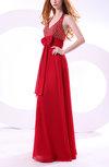 Modest A-line Zipper Chiffon Floor Length Ruching Homecoming Dresses