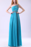 Modest A-line One Shoulder Sleeveless Chiffon Ruching Prom Dresses