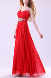Cinderella A-line Thick Straps Sleeveless Zipper Chiffon Evening Dresses