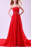 Romantic Strapless Sleeveless Chapel Train Paillette Prom Dresses