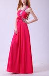 Modest Asymmetric Neckline Sleeveless Floor Length Flower Evening Dresses