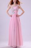Elegant Asymmetric Neckline Zip up Chiffon Floor Length Bridesmaid Dresses