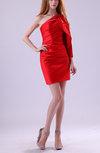 Modern Sheath Asymmetric Neckline Sleeveless Satin Ruffles Little Black Dresses