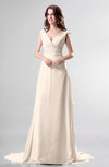 Simple Church Sleeveless Backless Chiffon Chapel Train Bow Bridal Gowns