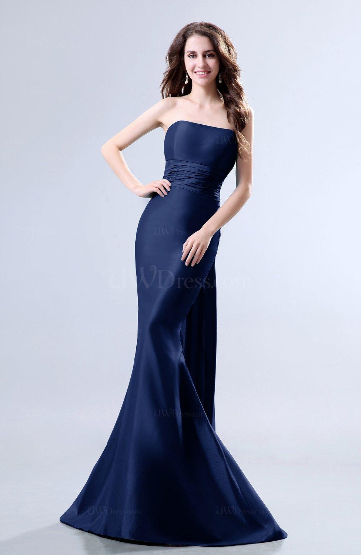 Dark Blue Elegant Mermaid Sleeveless Backless Court Train