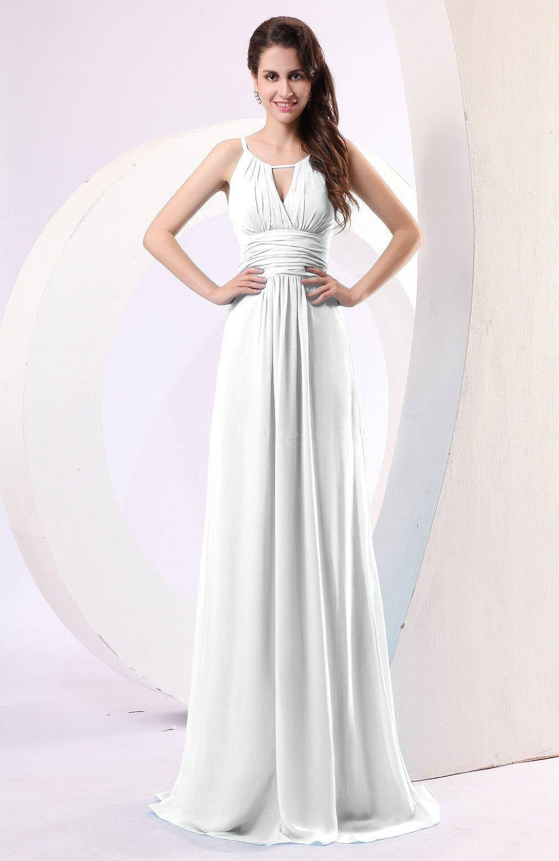 ff658e52f8d Cloud White Plain Column Scoop Zipper Chiffon Ruching Evening Dresses  (Style D26244)