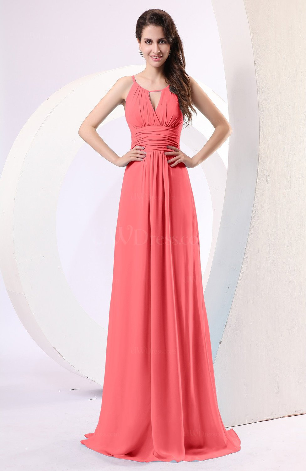 Coral Plain Column Scoop Zipper Chiffon Ruching Evening