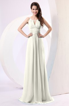 46d003f352 Cream Plain Column Scoop Zipper Chiffon Ruching Evening Dresses