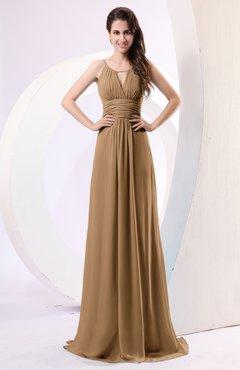 1529953c077a Indian Tan Plain Column Scoop Zipper Chiffon Ruching Evening Dresses
