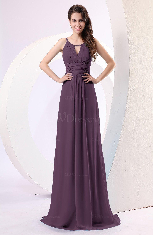 abf06c8c0a2 Italian Plum Plain Column Scoop Zipper Chiffon Ruching Evening Dresses ( Style D26244)