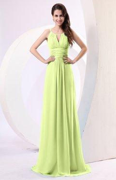 Lime Green Plain Column Scoop Zipper Chiffon Ruching Evening Dresses