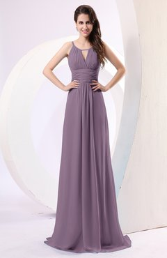 Mauve Plain Column Scoop Zipper Chiffon Ruching Evening Dresses