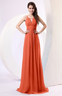 6c6a1cabc3f9 Rust Plain Column Scoop Zipper Chiffon Ruching Evening Dresses