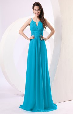 83932031c40 Teal Plain Column Scoop Zipper Chiffon Ruching Evening Dresses