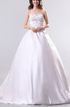 Antique Church Sweetheart Sleeveless Satin Chapel Train Embroidery Bridal Gowns