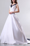 Classic Garden V-neck Sleeveless Satin Chapel Train Embroidery Bridal Gowns