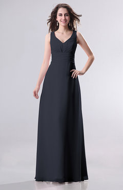 5d51cc61fe0e Navy Blue Simple Empire Sleeveless Zip up Ruching Wedding Guest Dresses